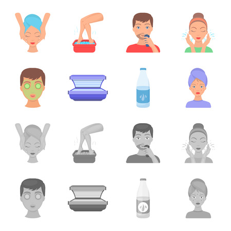 Face mask, solarium, bottle ts lasenom, pimples on face. Skin Care set collection icons in cartoon,monochrome style vector symbol stock illustration . Illustration
