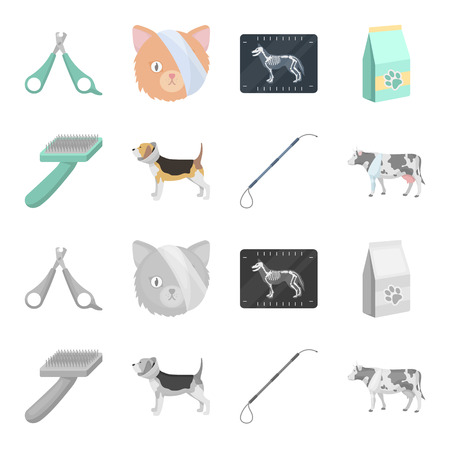 Dog, cow, cattle, pet .Vet Clinic set collection icons in cartoon,monochrome style vector symbol stock illustration .