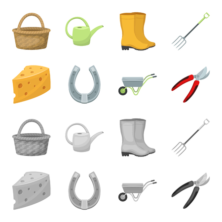 Cheese with holes, a trolley for agricultural work, a horseshoe made of metal, a pruner for cutting trees, shrubs. Farm and gardening set collection icons in cartoon,monochrome style vector symbol stock illustration .