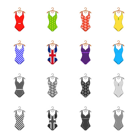 Different kinds of swimsuits. Swimsuits set collection icons in cartoon,monochrome style vector symbol stock illustration .
