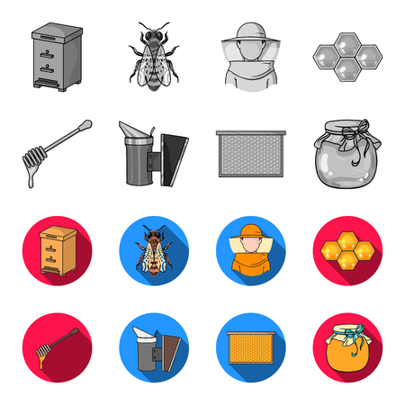 A frame with honeycombs, a ladle of honey, a fumigator from bees, a jar of honey.Apiary set collection icons in monochrome,flat style vector symbol stock illustration .