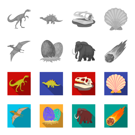 Prehistoric shell, dinosaur eggs,pterodactyl, mammoth. Dinosaur and prehistoric period set collection icons in monochrome,flat style vector symbol stock illustration web.