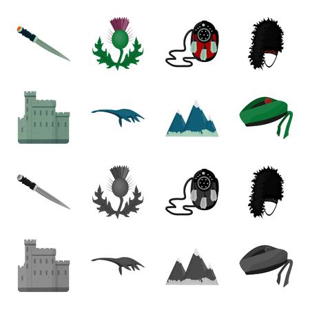 Edinburgh Castle, Loch Ness Monster, Grampian Mountains, national cap balmoral,tam o shanter. Scotland set collection icons in cartoon,monochrome style vector symbol stock illustration . Illustration