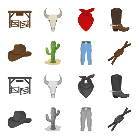 Hat, cactus, jeans, knot on the lasso. Rodeo set collection icons in cartoon,monochrome style vector symbol stock illustration web. Vectores