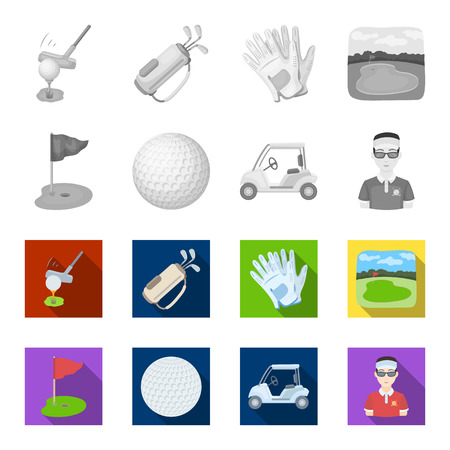 Field with a hole and a flag, a golf ball, a golfer, an electric golf cart.Golf club set collection icons in monochrome,flat style vector symbol stock illustration web. Ilustração