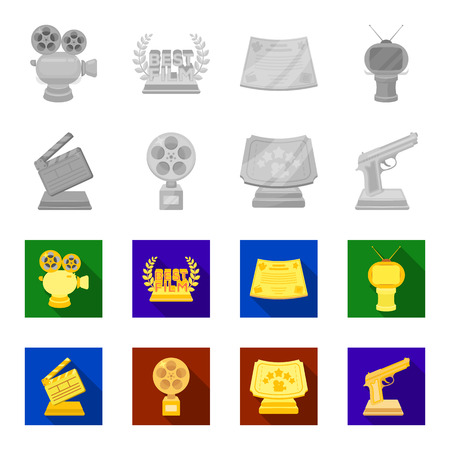 Gold pistol, silver prize for the best supporting role and other prizes.Movie awards set collection icons in monochrome,flat style vector symbol stock illustration web.