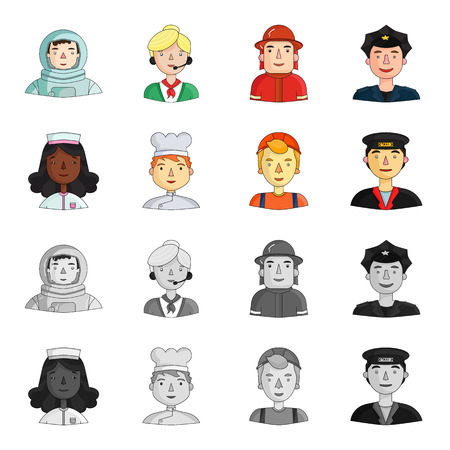 A nurse , a cook , a builder , a taxi driver . People of different professions set collection icons in cartoon,monochrome style vector symbol stock illustration web.