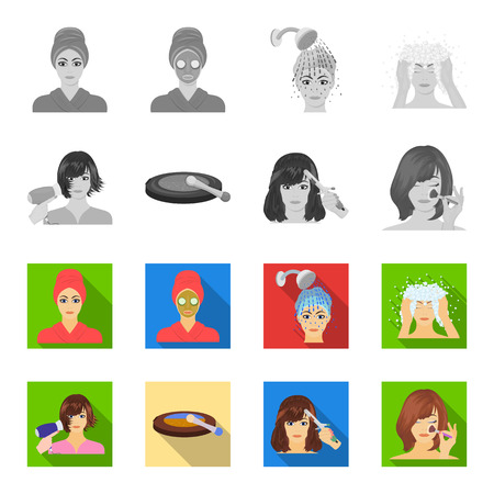 Salon, care, hygiene and other web icon in monochrome,flat style. Hands, hairdresser, beauty, icons in set collection. Ilustração