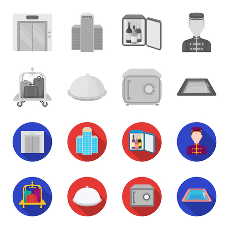 Trolley with luggage, safe, swimming pool, clutch.Hotel set collection icons in monochrome,flat style vector symbol stock illustration web.