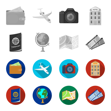 Vacation, travel, passport, globe .Rest and travel set collection icons in monochrome,flat style vector symbol stock illustration web. Ilustracja