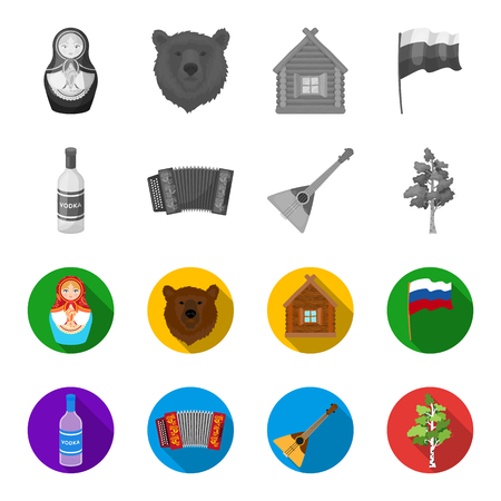 Russia, country, vodka,accordion .Russia country set collection icons in monochrome,flat style vector symbol stock illustration web.