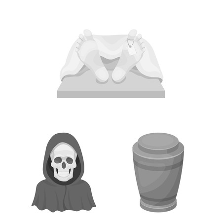 Funeral ceremony monochrome icons in set collection for design. Funerals and Attributes vector symbol stock  illustration.