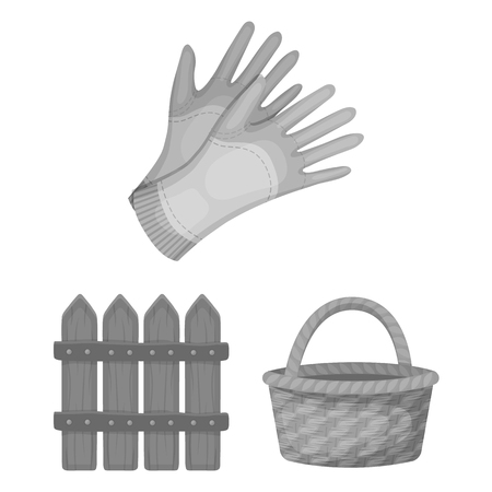 Farm and gardening monochrome icons in set collection for design. Farm and equipment vector symbol stock web illustration.