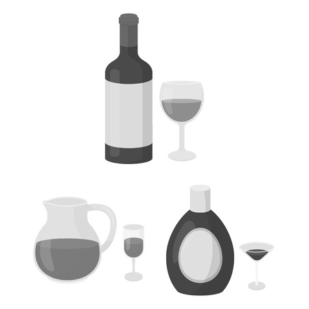 Types of alcohol monochrome icons in set collection for design. Alcohol in bottles vector symbol stock web illustration. Stock Illustratie