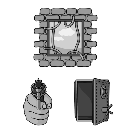 Crime and Punishment monochrome icons in set collection for design.Criminal vector symbol stock web illustration.
