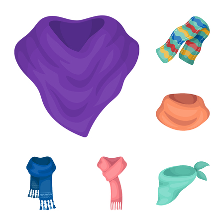 Scarf and Shawl cartoon icons in set collection for design.Clothes and Accessory vector symbol stock  illustration.  イラスト・ベクター素材