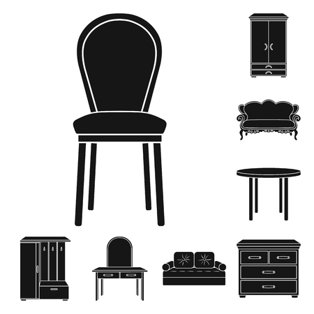 Furniture and interior black icons in set collection for design.Home furniture vector symbol stock  illustration. Vettoriali