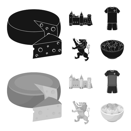 Cheese, lion and other symbols of the country.Belgium set collection icons in black,monochrome style vector symbol stock illustration .  イラスト・ベクター素材
