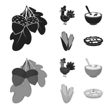 Acorns, corn.arthene puree, festive turkey,Canada thanksgiving day set collection icons in black,monochrome style vector symbol stock illustration . Çizim