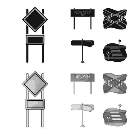Señales de tráfico y otro icono en estilo monocromo negro. Iconos de cruces de carreteras en la colección de conjunto.