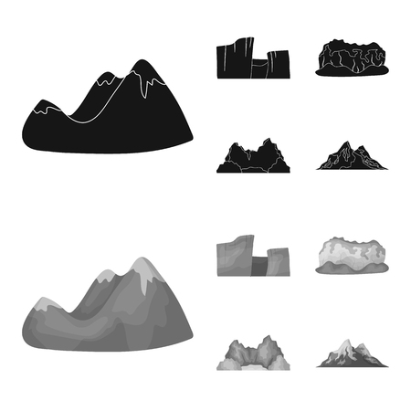 Green mountains with snow tops, a canyon, rocks with forests, a lagoon and rocks. Different mountains set collection icons in black,monochrome style vector symbol stock illustration .