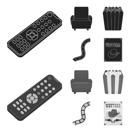 Control panel, an armchair for viewing, popcorn.Films and movies set collection icons in black,monochrome style vector symbol stock illustration .