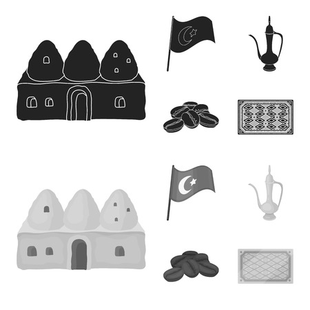 House hive, national flag, coffee pot copper, grains coffee.Turkey set collection icons in black,monochrome style vector symbol stock illustration . Illustration