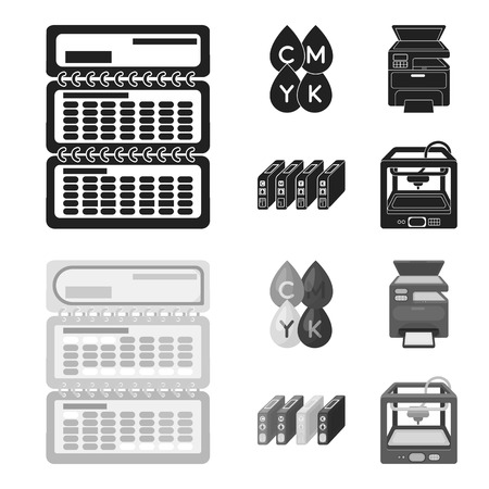 Calendar, drops of paint, cartridge, multifunction printer. Typography set collection icons in black,monochrome style vector symbol stock illustration . Illustration