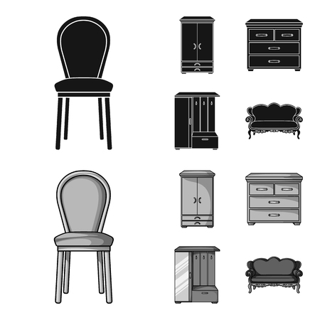 Armchair, cabinet, bedside, table .Furniture and home interiorset collection icons in black,monochrome style vector symbol stock illustration .