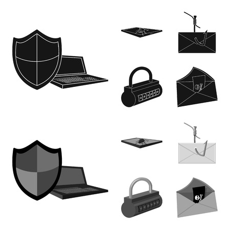 Hacker, system, connection .Hackers and hacking set collection icons in black,monochrome style vector symbol stock illustration . Illustration