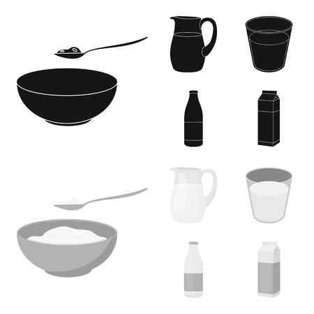 Bowl of cottage cheese, a glass, a bottle of kefir, a jug. Moloko set collection icons in black,monochrome style vector symbol stock illustration . Illustration