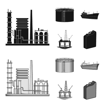 Oil refinery, tank, tanker, tower. Oil set collection icons in black,monochrome style vector symbol stock illustration .