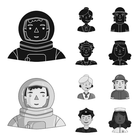 An astronaut in a spacesuit, a co-worker with a microphone, a fireman in a helmet, a policeman with a badge on his cap. People of different professions set collection icons in black,monochrome style vector symbol stock illustration .