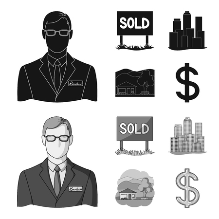 Employee of the agency, sold, metropolis, country house.  set collection icons in black,monochrome style vector symbol stock illustration .