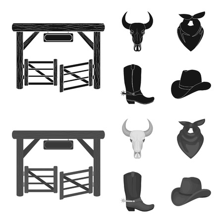 Gates, a bull skull, a scarf around his neck, boots with spurs. Rodeo set collection icons in black,monochrome style vector symbol stock illustration .