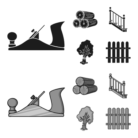 Logs in a stack, plane, tree, ladder with handrails. Sawmill and timber set collection icons in black,monochrome style vector symbol stock illustration .