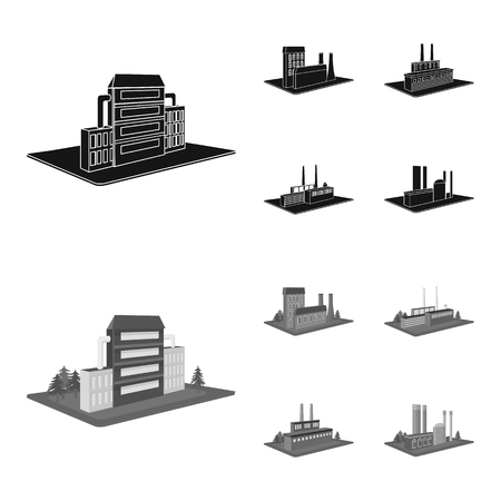 Processing factory,metallurgical plant. Factory and industry set collection icons in black,monochrome style isometric vector symbol stock illustration .
