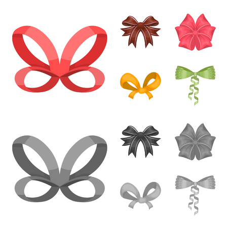 Bow, ribbon, decoration, and other icon in cartoon,monochrome style. Gift, bows, node icons in set collection