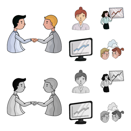 Businesswoman, growth charts, brainstorming.Business-conference and negotiations set collection icons in cartoon,monochrome style vector symbol stock illustration .