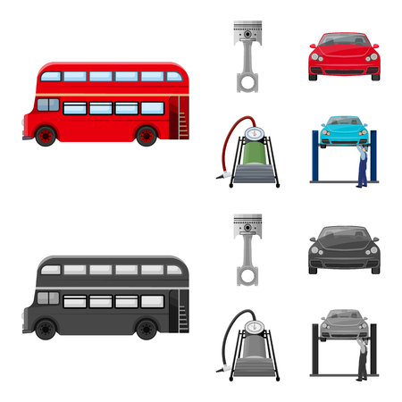 Car on lift, piston and pump cartoon,monochrome icons in set collection for design.Car maintenance station vector symbol stock illustration .