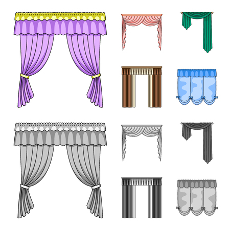 Different types of window curtains.Curtains set collection icons in cartoon,monochrome style vector symbol stock illustration .