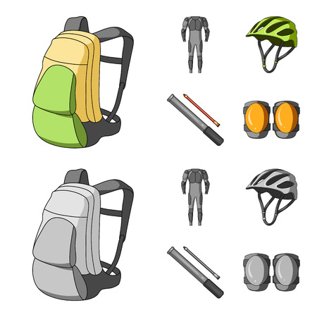 Full-body suit for the rider, helmet, pump with a hose, knee protectors.Cyclist outfit set collection icons in cartoon,monochrome style vector symbol stock illustration .