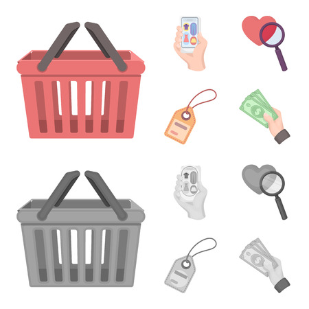 Hand, mobile phone, online store and other equipment. E commerce set collection icons in cartoon,monochrome style vector symbol stock illustration . Illustration
