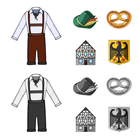 Country Germany cartoon,monochrome icons in set collection for design. Germany and landmark vector symbol stock  illustration.