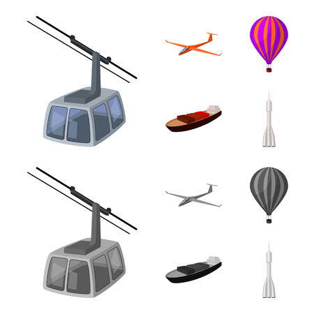A drone, a glider, a balloon, a transportation barge, a space rocket transport modes. Transport set collection icons in cartoon,monochrome style vector symbol stock illustration .