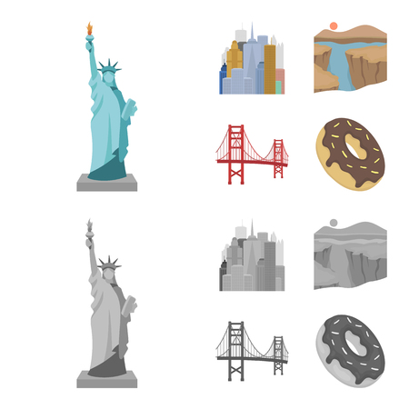 A megacity, a grand canyon, a golden gate bridge, donut with chocolate. The US country set collection icons in cartoon,monochrome style vector symbol stock illustration .