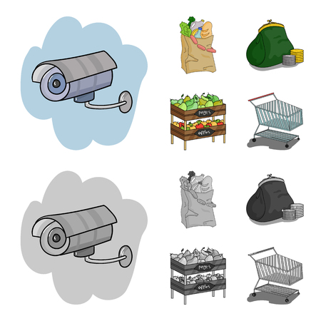 Sausages, fruit, cart .Supermarket set collection icons in cartoon,monochrome style vector symbol stock illustration .
