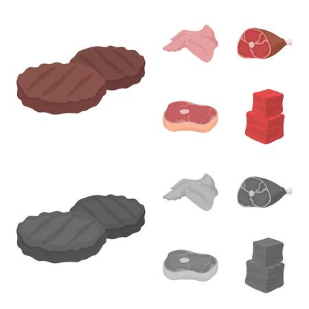 Chicken wings, ham, raw steak, beef cubes. Meat set collection icons in cartoon,monochrome style vector symbol stock illustration .