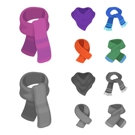 Various kinds of scarves, scarves and shawls. Scarves and shawls set collection icons in cartoon,monochrome style vector symbol stock illustration .