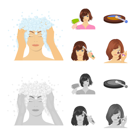 Salon, care, hygiene and other  icon in cartoon,monochrome style. Hands, hairdresser, beauty, icons in set collection Illustration
